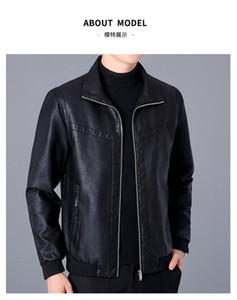Mens PU-Leder-Revers-Ansatz-dünne Jacken Langärmlig Zipper Jacke mit Taschen Herbst-Winter-beiläufiger Solid Color Kleidung