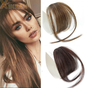Clip In Hair Bangs Hairpiece Synthetic Fake Bang Hair Piece Clip In Hair Extension Air Bangs Clip on Bangs Black Brown