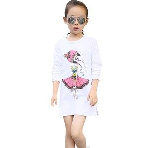 DHgate Мода подростковых малыши Infant Baby Дети мультфильм девочки печать Принцесса платье Наряды Зазор Newst ребенок платье Z0208