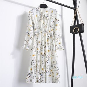 Hot Sale LOSSKY Chiffon High Waist Elastic Bow Party A-line Women Full Sleeve Flower Print Floral Bohemian Midi Dress Female