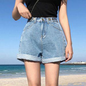 Vintage High Waist Blue Wide Leg Female Jean Shorts Womens Denim Shorts Classic Casual Summer Ladies Shorts Jeans for Women