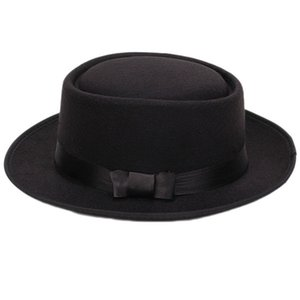 Women Men Cool Classic Jazz Hats Fedora Trilby Hat Blower Hats with Bowknot (Black)