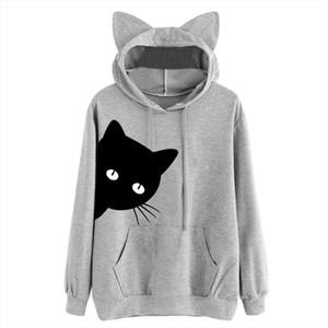Kawaii Cat Print Hoodies For Women Cats Ears Cute Hooded Long Sleeve Sweatshirt Sprint Autumn Pullover Plus Size Sudadera Mujer