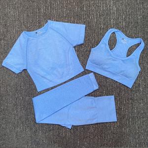 Diseñador de moda para mujer algodón yoga traje gimnasio ropa deportiva ropa de juego fitness deporte de tres piezas 3pcs pantalones sujetador camisetas Leggings trajes