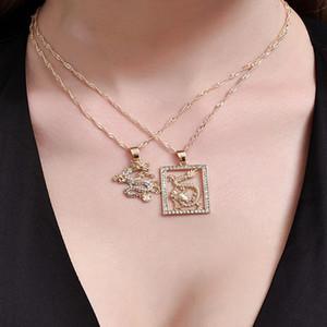 ALYXUY 2 adet / set Moda Ejderha Kristal kolye kolye Altın rengi zarif Kişilik Takı Şanslı Sembol Kadınlar Kızlar Hediye
