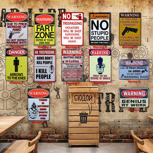 12 Styles Warning Tin Painting Toilet Kitchen Decor Poster Bar Pub Cafe Warning Retro Metal Sign Home Restaurant Vintage Tin Sign TQQ BH2209