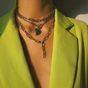 Declaración de punk Gargantilla Collar de múltiples capas de Cuba Steampunk amor del corazón colgante Chunky Gargantillas collar cadena del hierro para el Festival de Mujeres de joyería