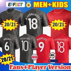 Manchester united FC Soccer Jerseys 2020 2021 Versión de jugador POGBA SANCHO BRUNO FERNANDES RASHFORD Jersey Camiseta de fútbol 20 21 man + kit para niños