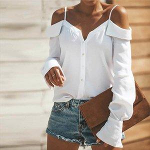2020 Spring Casual Blouse Women Tops Fashion Solid White Black Button Slash Neck Regular Long Sleeve Sexy Women Blouses Female