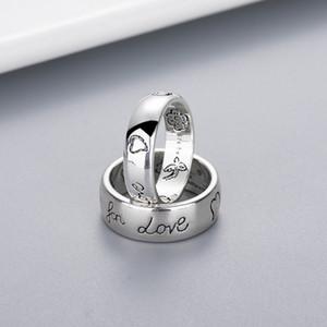 사랑의 커플 높은 품질의 보석을위한 러브 레터 반지 선물에 대한 스탬프 블라인드와 여성 소녀 꽃 새 패턴 링