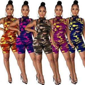 İnce get playsuit sonbahar moda kamuflaj baskı romper Kadınlara tulum iki parçalı set tulum giyim klw4745 womens panelli
