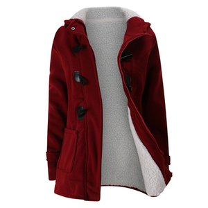 2020 Nuovo Autunno Inverno Donna Horn Button cappotto Slim Warm dimensioni di lana Giubbotti per la donna Outwear Inoltre con cappuccio cappotti per le donne 5XL 6XL T200814