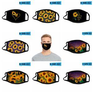 24style girasol máscara 3D Digital Print Las mascarillas de tela elástica Tela Máscara facial reutilizable anti Haze prueba de polvo cubierta Mascarilla GGA3688-3