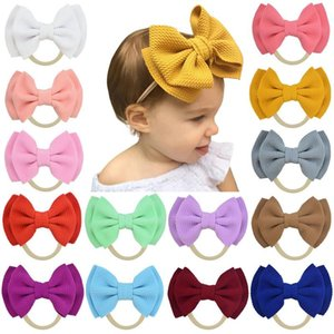 Free DHL INS Cute Big Bow Hairband Baby Girls Toddler Kids Elastic Headband Knotted Nylon Turban Head Wraps Bow-knot Hair Accessories DHC99