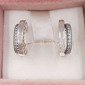 Authentic 925 Sterling Silver Studs Pandora Pave´ Double Hoop Earrings Fits European Pandora Style Studs Jewelry 299056C01
