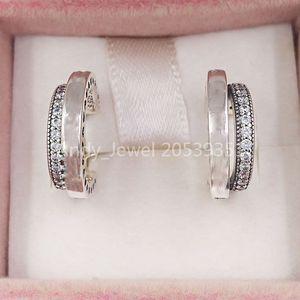 Authentic 925 Sterling Silver Studs Pandora Pave 'Double Hoop orecchini adatti gioielli in stile Pandora europeo monili 299056C01