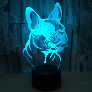 Toque colorido remoto de carga 3D lâmpada do cão de Shar Pei 3D conduziu a Noite Pequenas luzes decorativas luzes Quarto Atmosfera Lamp