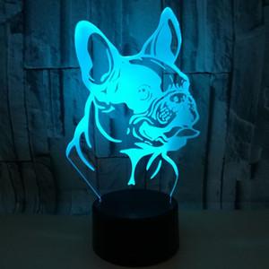 Colorful Remote Touch ricarica 3D lampada Shar Pei Dog 3D LED Piccolo Notte luci decorative luci Camera Atmosfera Lamp