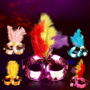 Venetian Masquerade Tüy Maskeleri Noel Cadılar Bayramı Dans Partisi Mardi Gras Sparkle Prenses Yarım Yüz Tüy Hediye DBC BH3991 Maskesi