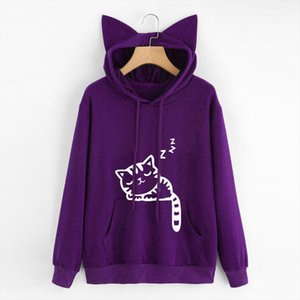 New Casual Cat Autumn Oversized Jumper Hooded Pullover Tops Blou Womens Female Loose Pullover Sweaters Outwear DROPSHIPPING 1
