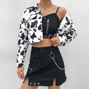Streetwear Cow Print ritagliata femminile Giacca Bottoni cappotto casuale del cardigan delle donne Primavera Autunno di base Giacche Outwear Nuovo