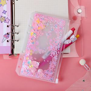 Bolsillo del cuaderno de PVC A6 con 6 orificios Glitter Bolígrafos de plástico Inserciones Bolsillos 6 Anillo Bolsos sueltos de hojas Filofax Sobres Sobres Bult-In Flakes