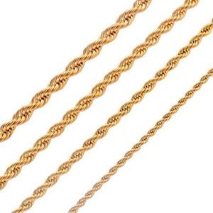 Commercio all'ingrosso - 3mm / 4mm / 5mm / 18 carati in oro collana in oro catena corda uomo donna catena regali gioielli 20 pollici 24 pollici 28 pollici