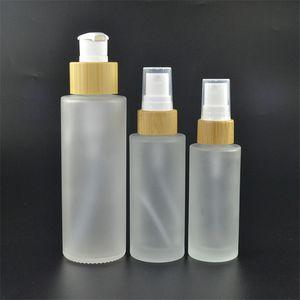 100 ml Botella de vidrio con escarcha con bambú de la bomba de la bomba de emulsión Botellas de la bomba de emulsión vacío embalaje de cosméticos de vidrio de vidrio botella