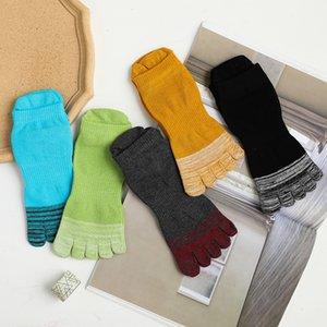 5 pares Toe meias de algodão do sexo masculino tornozelo Striped Socks Casual respirável e confortável 5 Socls dedo
