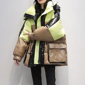 Janveny solto casaco longo parka mulheres 2020 inverno branco pato para baixo jaqueta feminina parkas com capuz engrossar quente neve outwear