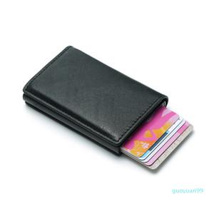 Nuevo-Hombres Bolsa de dinero Mini monedero masculino automático de la máquina de tarjetas RFID de aluminio titular de la cartera Pequeño inteligente Monedero Vallet
