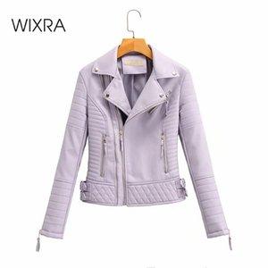 Pelle Wixra Womens Faux Giacche Zipper PU Coat Gira-giù solida del collare rivestimento sottile Streetwear 2020 Autunno Primavera