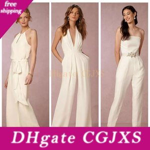New 2018 Ivory Jumpsuit Bridesmaid Dresses For Wedding Sheath Backless Wedding Guest Gowns Plus Size Pant Suit Beach Honor Of Maid Cheap