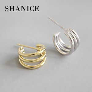 SHANICE Gold Color Authentic 925 Sterling Silver Stud Earrings INS Simple Multi-layer Line Circles Student Jewelry Lucky Gift