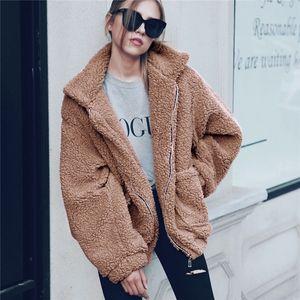 Elegant Faux Fur Coat Women Autumn Winter Thick Warm Soft Fleece Jacket Pocket Zipper Outerwear Overcoat Bear Teddy coat S-3XL T200831