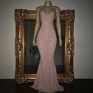 2019 Stunning Rose Pink Sequined 2K19 Prom Dresses Sexy Spaghetti Straps Mermaid Sleeveless Evening Gowns