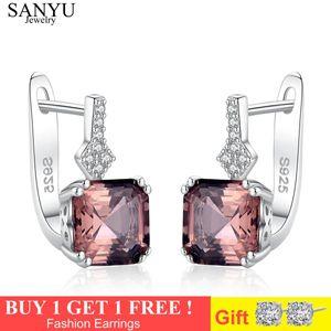 Sanyu Argent 925 Morganite Boucles d'oreilles clip pierre pour les femmes de fiançailles de mariage pierres précieuses Beaux cadeaux de bijoux joyas de plata