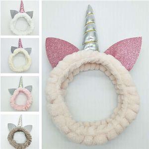 Прекрасный Unicorn Плюшевые Hairband ватки Блестки Дети Девушки ободки Упругие диапазона волос для Хэллоуина Принадлежности для Рождества 5 цветов подарка