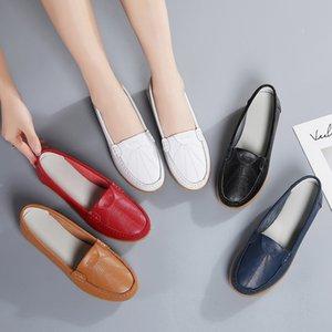 Pelle Weideng traspirante suola molle di slittamento non Testa Rotonda madre elegante scarpe Aumentare semplice casuale estate fannulloni donne 2CM