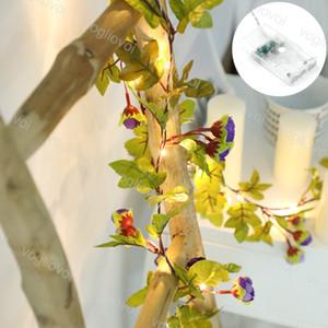 Weihnachtsbeleuchtungskette 2m 20LED Rattan Blumen Beleuchtungskette Kupfer 3000k Ins Zimmer Ornamental Greenoon Lampe Vine Urlaub DHL