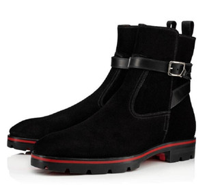 Fashion Rock Boots With Spiked Studs Black Genuine Leather Red Bottom Men Boots Ankle Boot Red Sole Melon Spikes Flat High Top Shoes EU39-46