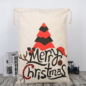 DHL Корабль Canvas Рождество Sants сумка Большая кулиска конфета сумка Сант-Клаус мешок Xmas Санта Сакс подарочные пакеты для Новогоднего украшения 08