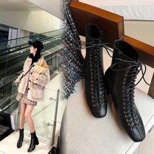 женщины ботильоны из натуральной кожи 22-25.5 см длина ноги коровьей + корова замша ретро современные ботинки лодыжки для женщин