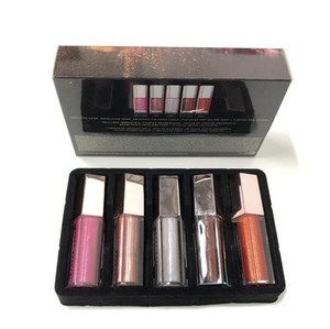 New Christmas Lip Gloss Set Mini Diamond Lip Glaze Lip Gloss 5 Pz Gloss Bomb Raccolta festiva spedizione gratuita