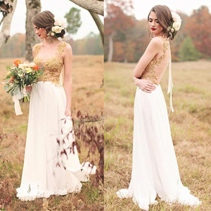 2021 Sexy Back Country Wedding Dresses Illusion Split Sheer Neck Beaded Gold Lace Applique Chiffon Sweep Train Wedding Gown Vestido de novia