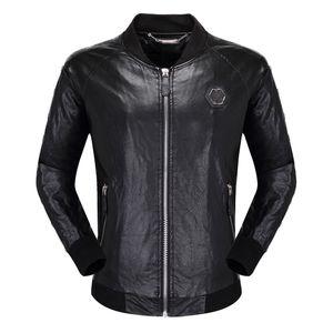 Schädel-Leder-Jacke Männer Zipper Slim Fit Short Hip-Hop-lässige Designer Motorradmantel schwarz Biker Tiger Luxus Fitness Kleidung M-3XL