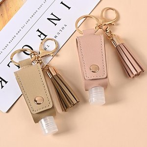 Hand Sanitizer Bottle Cover PU Leather Tassel Holder Keychain Protable Keyring Cover Storage Bags Home Storage Organization drop shipping