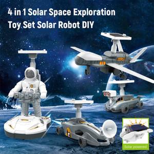 4 في 1 روبوت للطاقة الشمسية DIY الأطفال المخابرات لعبة بالطاقة الشمسية مجموعة اليدوية STEM لعبة العلوم استكشاف المركبات الجمعية نموذج