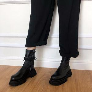 MoneRffi Women Casual Boots Marke Lace-up im Freien Frau arbeiten flachen Ferse Stiefel 2020 Herbst Schuhe Mujer Frauen Hot Sell