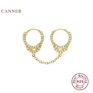 CANNER 925 Sterlingsilber-Ohrringe Ohrring-Bänder für Frauen Schmuck Persönlichkeit Handschellen Diamanten Frauen